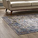 Modway R-1091B-46 Minu Area Rug, 4x6, Light Blue, Yellow and Orange