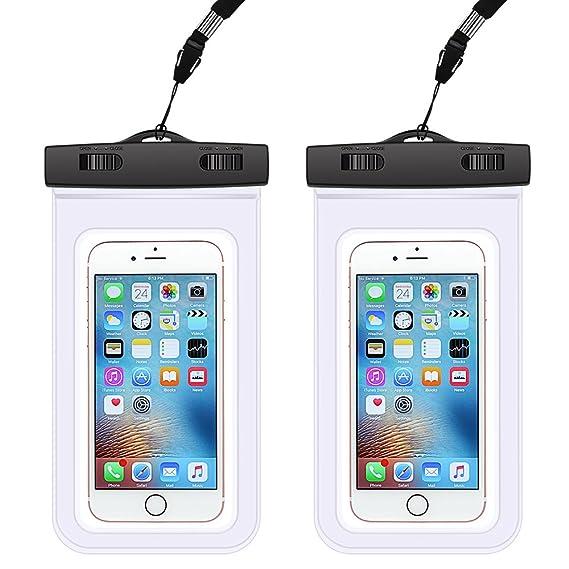 best sneakers 62541 28deb Waterproof Phone Bag, Waterproof Phone Case, AndHot 2 Pack Universal  Waterproof Phone Pouch Dry Bag for iPhone X 8/8 Plus 7/7 Plus 6/6  Plus/6s/6s Plus ...
