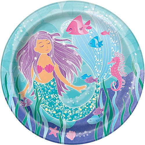 MERMAID LARGE PAPER PLATES  ~ Birthday Party Supplies Dinner