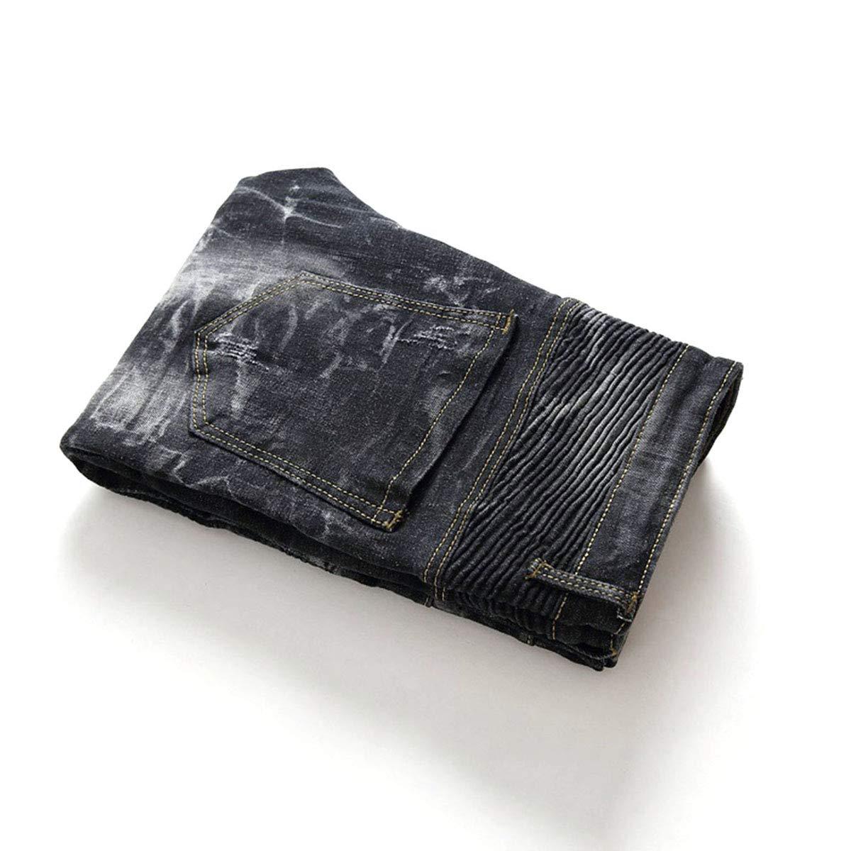 Black Mens Stylish Slim Straight Jeans Regualr Fit Washed Denim Jeans with Multi-Zipper Decor Size 34
