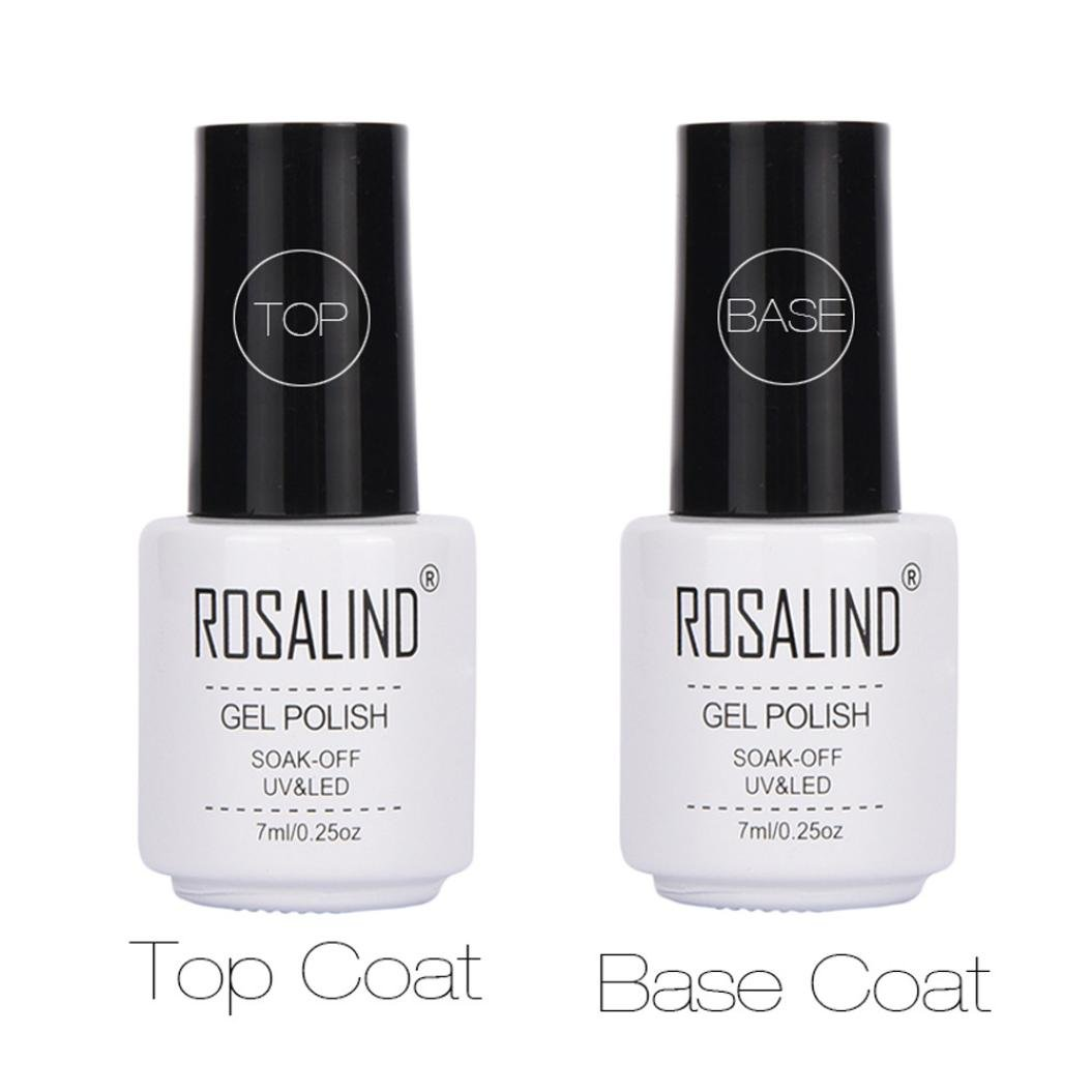Dolloress Nail Tips⭐ROSALIND 7ML 2 Pcs Top Coat + Base Coat Soak-Off UV& LED Nail Gel Polish Primer Nail Art (Top Coat + Base Coat)