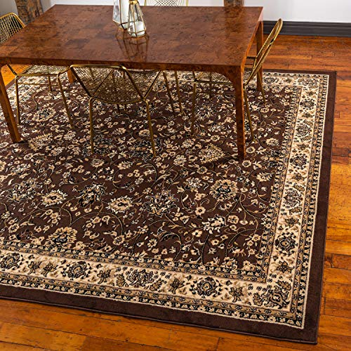 - Unique Loom Kashan Collection Traditional Floral Overall Pattern with Border Brown Square Rug (8' x 8')