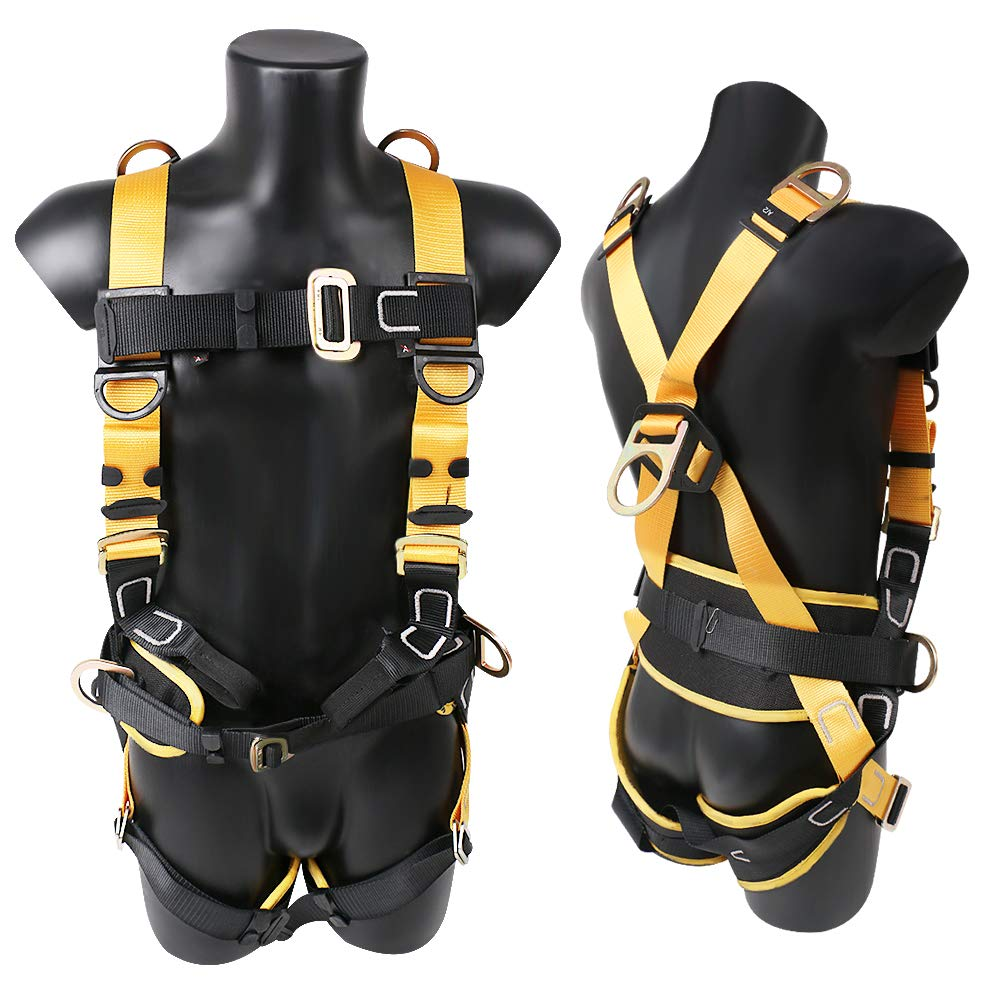 X XBEN Comfortable Roofing Fall Protection Safety Harness, 5D-Ring Full Body Fall Arrest Harness for Aerial lift, Ironworker, Scaffolding, Tower, Tree Climbing, Construction by X XBEN