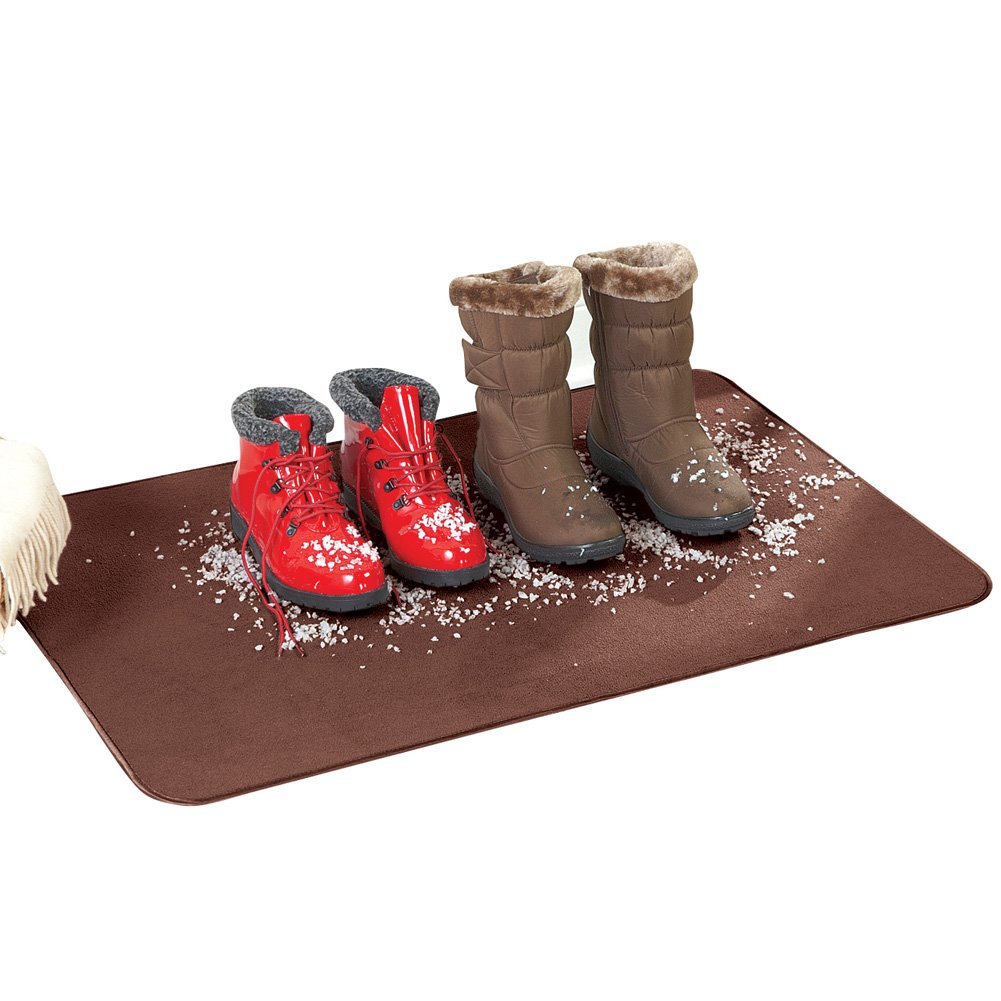 Collections Etc Absorbent Shoe Drying Mat for Indoors, Brown Winston Brands