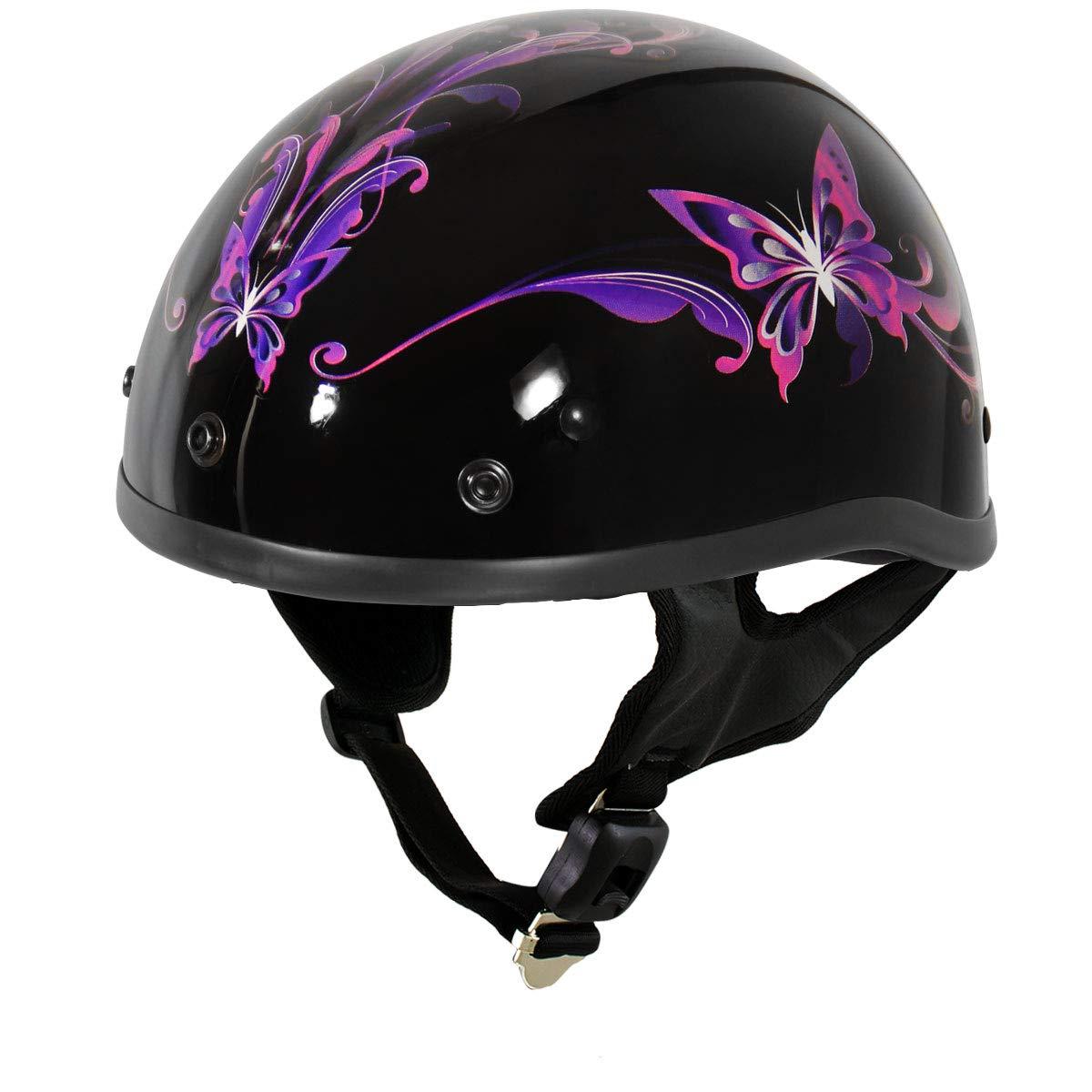 Medium Outlaw T70 Purple Butterfly Advanced DOT Glossy Black Motorcycle Half Helmet