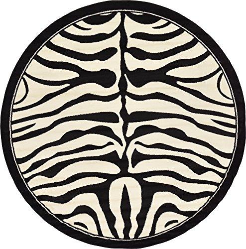 Unique Loom Wildlife Collection Zebra Border Animal Print Beige Round Rug (8' 0 x 8' 0)