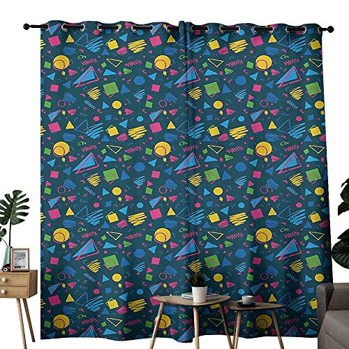 duommhome Dark Blue Bathroom Curtain 1980s Styled Pattern with Squares Circles Triangles and Doodles Print Block Most Light and Ultraviolet Light W84 xL96 Dark Blue Mustard Pink ()