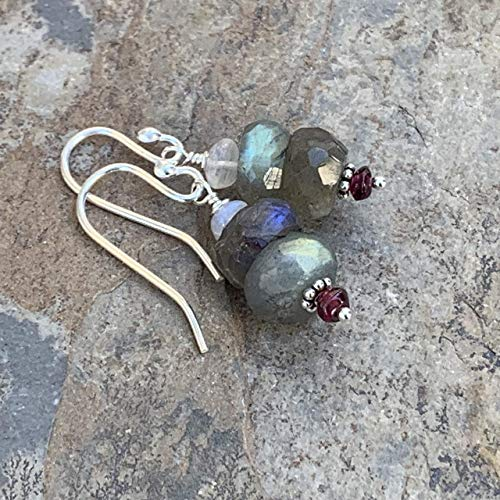 - Labradorite Earrings with Garnet, Moonstone and Sterling Silver, 1.25 inches long