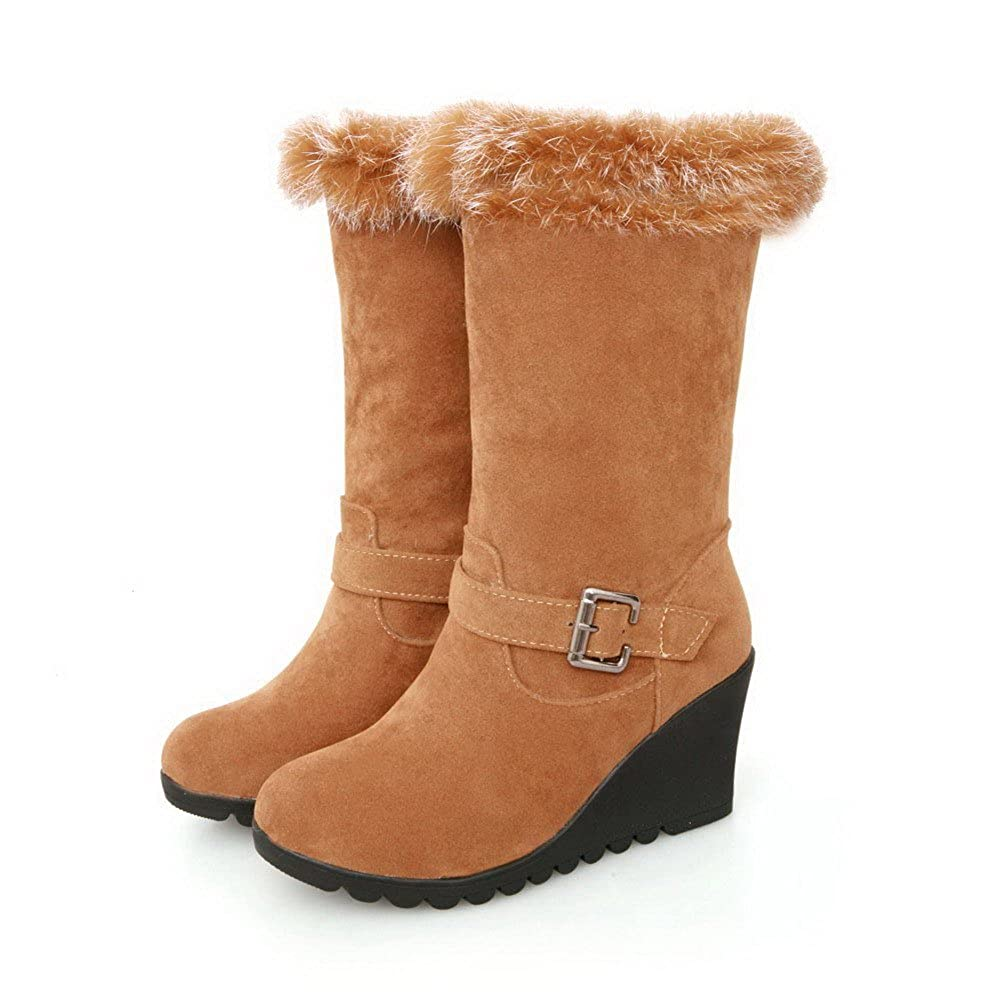WeenFashion Womens Heels Round Closed Toe High Heels Womens Nubuck Leather Solid Boots with Fur Ornament and Buckle B00OVQO5OQ Boots 15ca27
