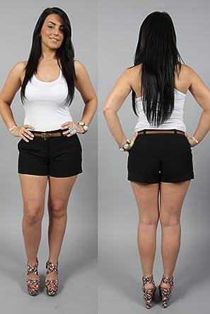 ladies black tailored shorts
