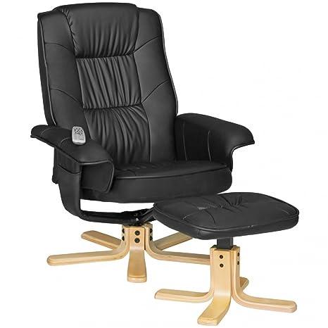 FineBuy Fernsehsessel Relax TV Design Relax-Sessel Wohnzimmer verstellbar  Modern Bezug Kunstleder schwarz drehbar mit Hocker X-XL 110 kg mit  Armlehnen ...