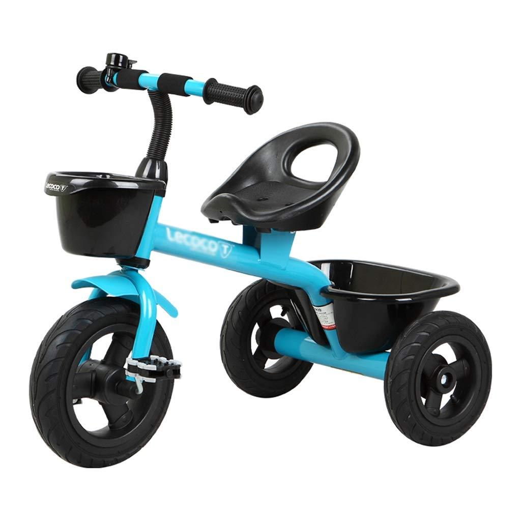 Blau 724756cm Kinderfahrrad Dreirad Kinderfahrrad 2-4-6 Jahre Kinder Dreirad Vorne Und Hinten 2 Körbe Lastaufnahme 15kg (Farbe   Blau, Größe   72  47  56cm)