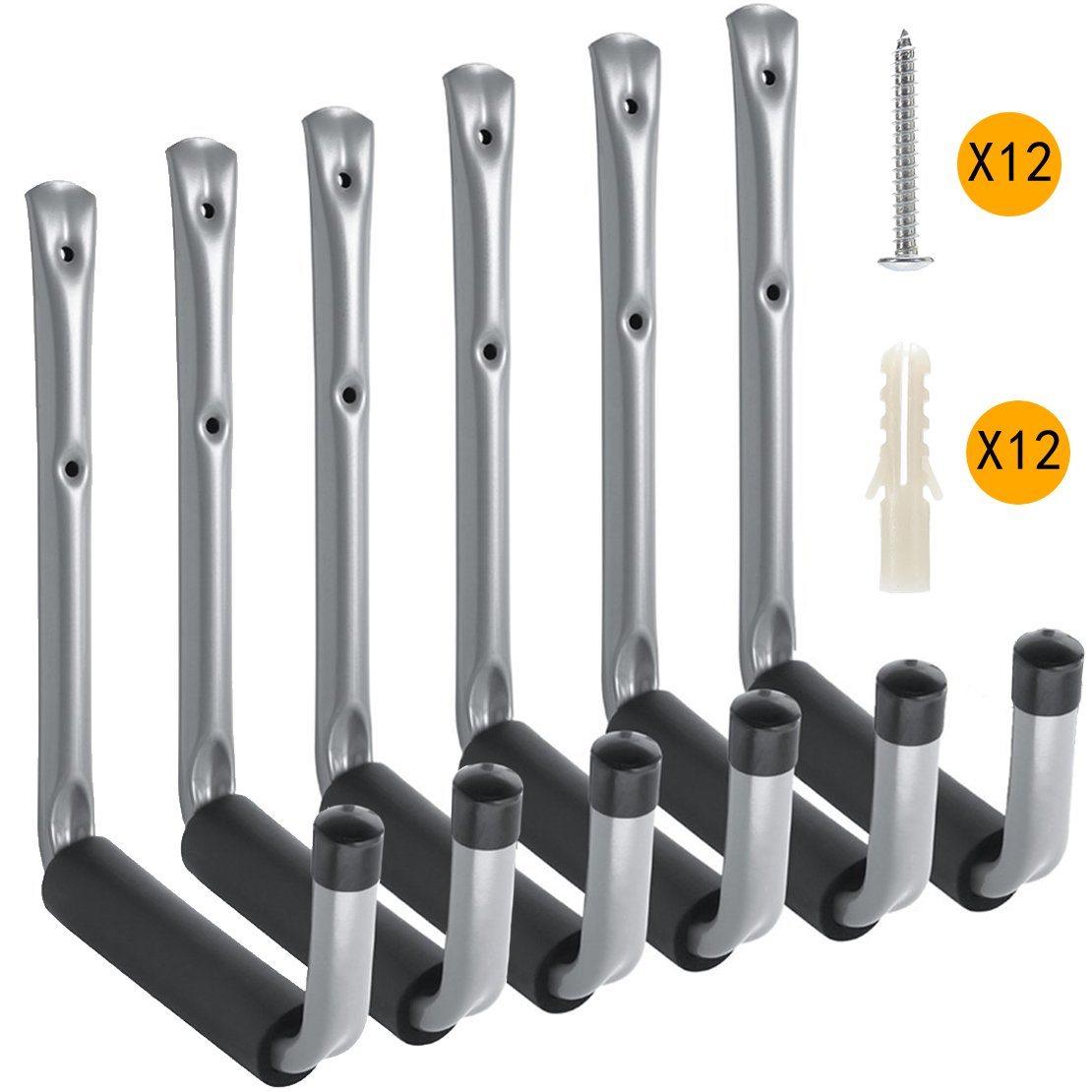Heavy Duty Garage Storage Utility Hooks with Jumbo Arm by Ihomepark, Wall Mount Garage Hanger & Organizer for Ladder Tool Chair Hose(6 Pack - Gray)