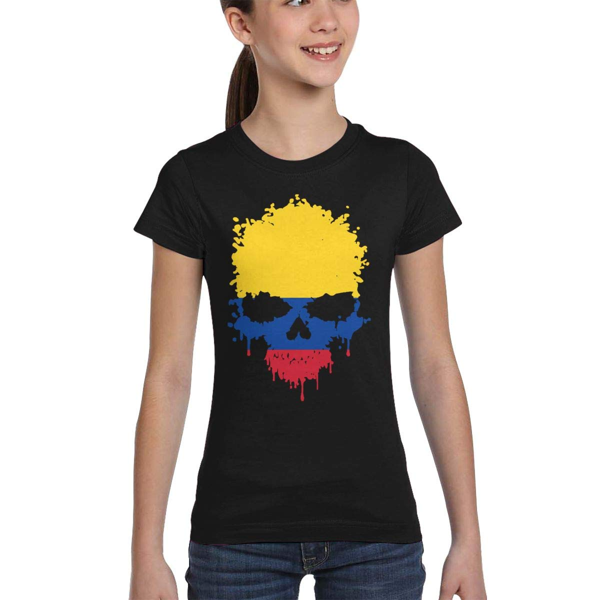 L6Nv4o@A Girls Short Sleeve Colombia Skull T-Shirts XS-XL Fashion Blouse Clothes