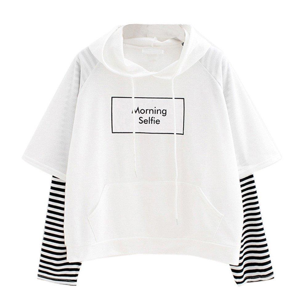 Women's Winter Long Sleeves Hoodie Printed Sweatshirt Patchwork Shirt Jumper Pullover Top Blouse Ladies Teen Girls
