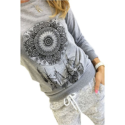 Feathers Adult T-shirt (Luca Women Casual Long Sleeve Dreamcatcher Feather Printing T-Shirt Blouse Tops (XL, Gray))