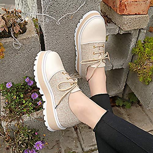 EU38 US7 CN38 5 Noir Bout TTSHOES Confort Marche Femme Printemps UK5 Kaki Creepers Rond Basket 5 Polyuréthane Khaki Été Chaussures UpawH6q