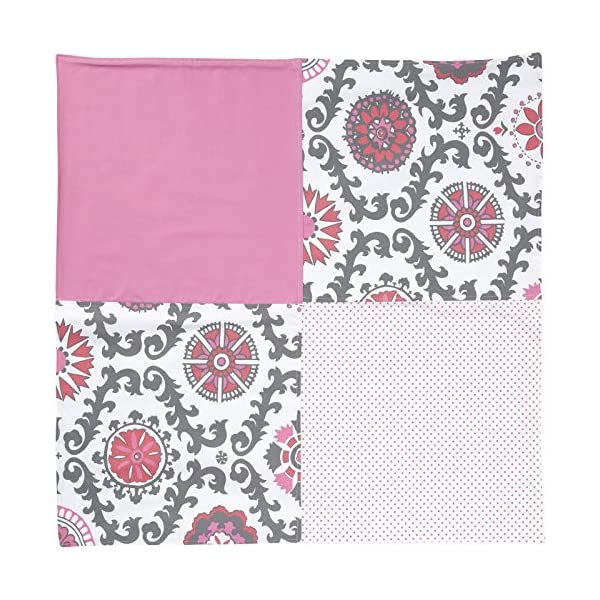 New Arrivals Ragamuffin In Pink Crib Blanket-Hot Pink & Gray