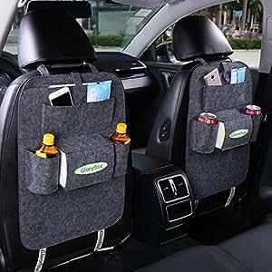 Gloryfox Car Seat Back Organizer, Multi-Pocket Travel Storage Bag for Happy Travelling, Dark Grey