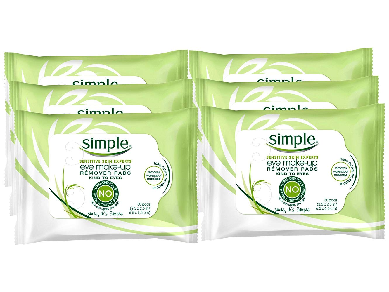 Simple Sensitive Skin Kind To Eyes Make-Up Remover Pads, 30 Count (Pack of 6)