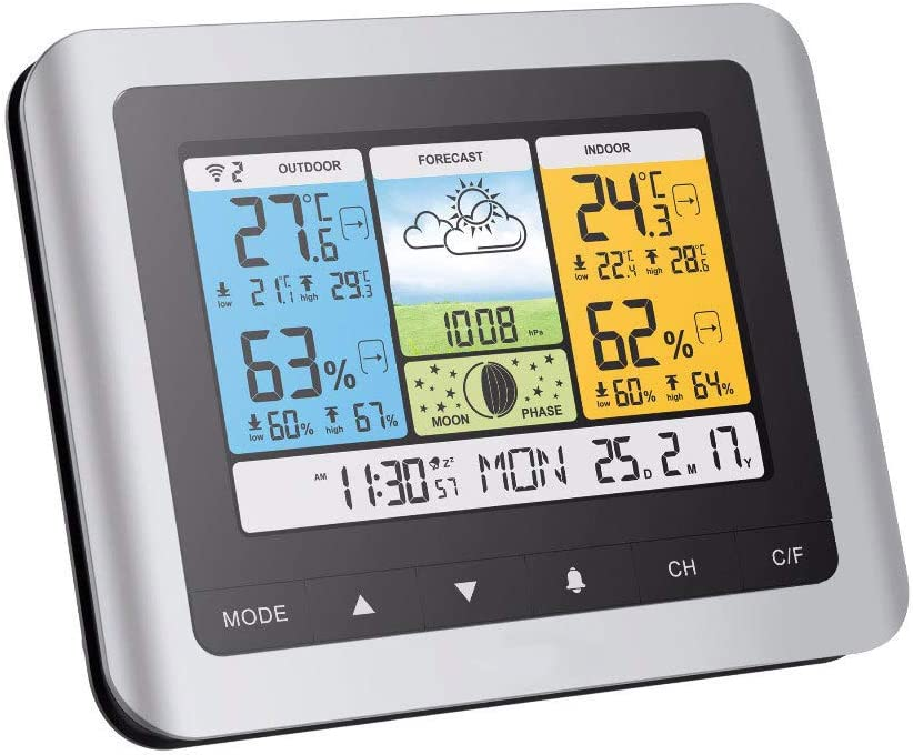 KCDE Wetterstation Funk Au/ßEnsensor,Raumthermometer,Thermometer Hygrometer Funksensor Mondphasenvorhersage Farbbildschirm Innen Und Au/ßEnluftdruckkalender Alarmelektronik