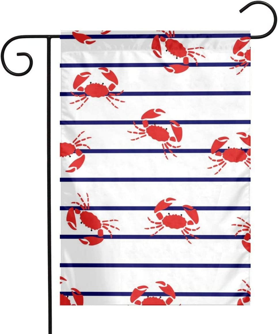 Red Crabs Garden Flags Home Indoor & Outdoor Holiday Decorations,Waterproof Polyester Yard Decorative for Game Family Party Banner
