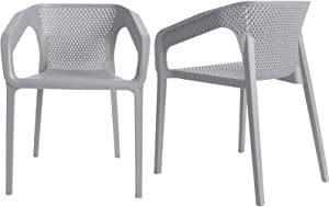 MIOCASA Dining Chairs, Modern Home Indoor Outdoor Plastic chairs Garden Chair, Balcony Chair for Kichen, Dining Room, Patio, Set of 2, 4
