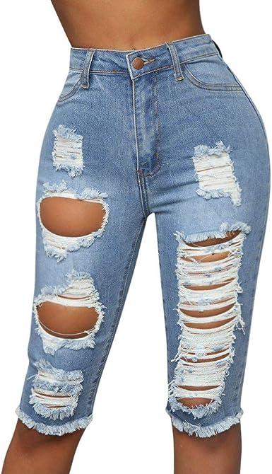 para Mujer Rasgada Skinny Jeans Pantalones Cortos, Pantalones ...