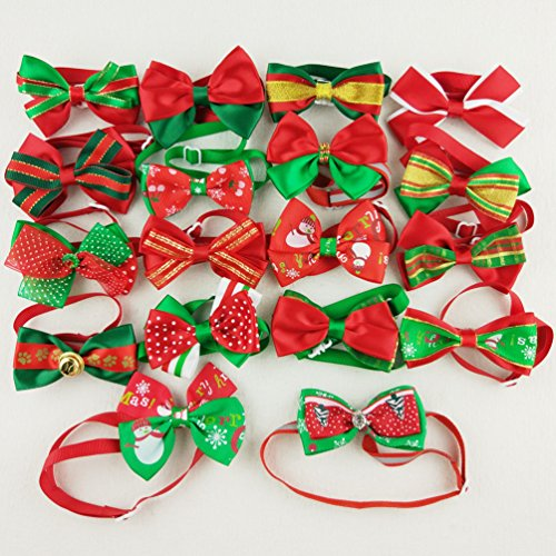 Dog Ribbon Christmas Collar Pet (Hixixi 15pcs/pack Dog Cat Puppy Bow Ties Bowties Collar for Christmas Festival Pet Xmas Ties Dog Grooming Accessories)
