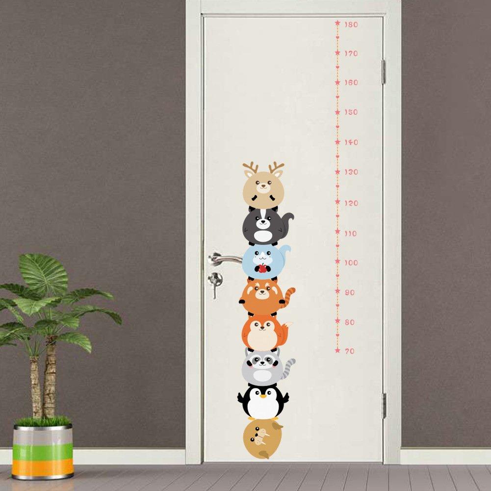 BIBITIME Nursery Height Chart Growth Measurement (Minimum scale:70 cm; Max:180 cm) Cartoon Animal Elk Fox Penguin Wall Decal Sticker for Children Kids Room Decor DIY