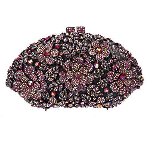 Red Hand Bags Purses Bonjanvye Black Girl's For Flower Ab Evening Ladies Glitter Party qtnnAwO64