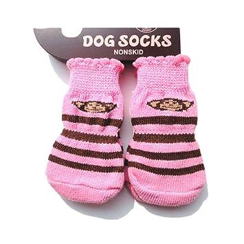 Calcetines para mascotas, suaves, calientes, antideslizantes, protectores de las patas, para gatos y perros, 4 unidades: Amazon.es: Productos para mascotas