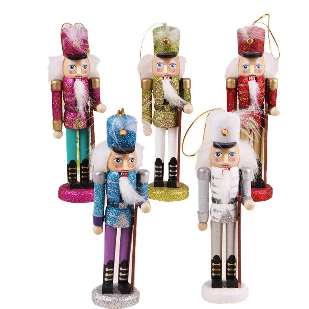 wangwtry 5pcs Schiaccianoci in Legno Soldato Puppet Ciondolo Decorativo Figurine Ornamenti Burattini Figure Bambole Giocattolo Regalo di Natale Decorazione D'interni