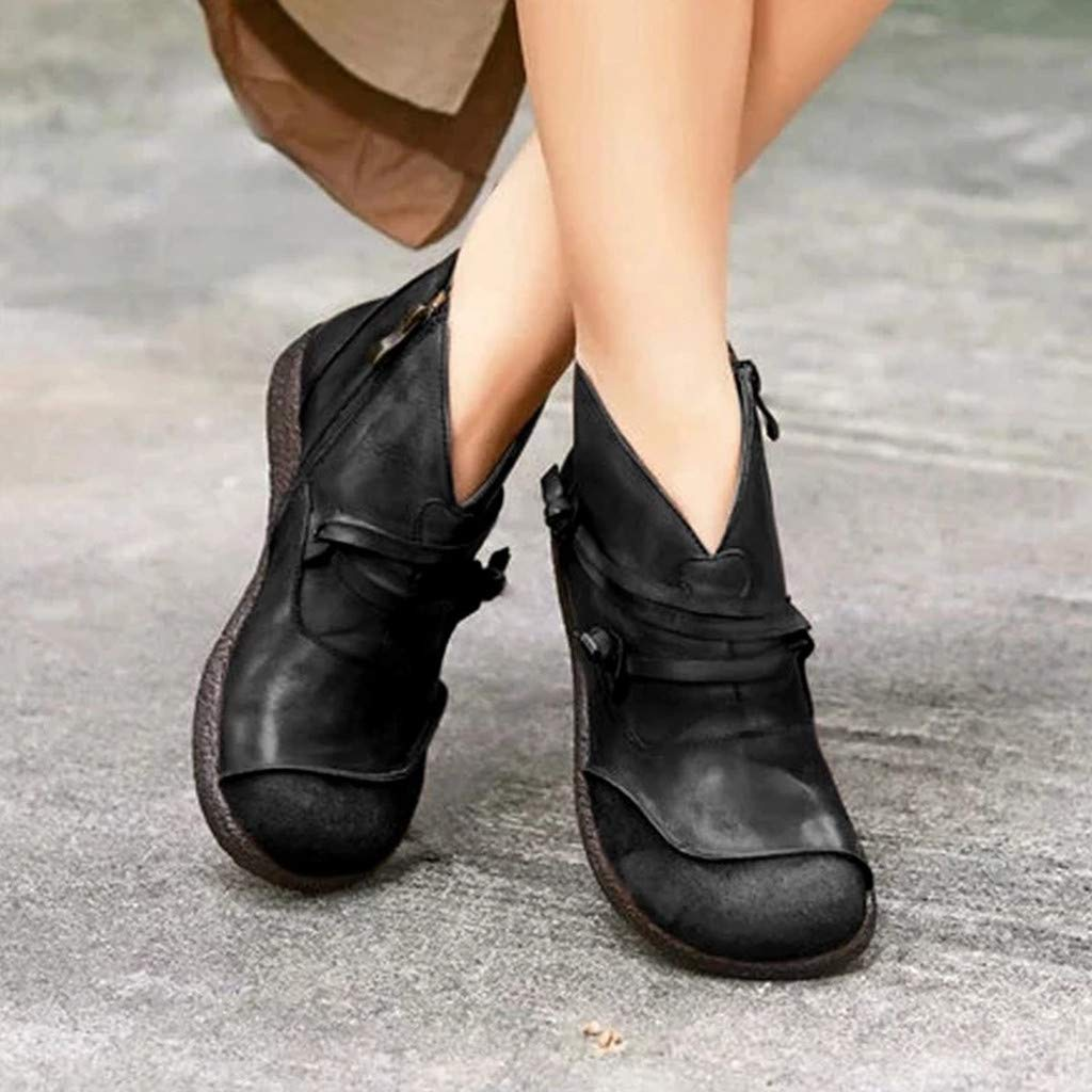 TTLOVE Bootsschuhe Leder Loafers Damen,Frau Mode Retro Rei/ßverschluss Kurze Stiefeletten Flache Weich Lederschuhe Halbschuhe Slippers Erbsenschuhe