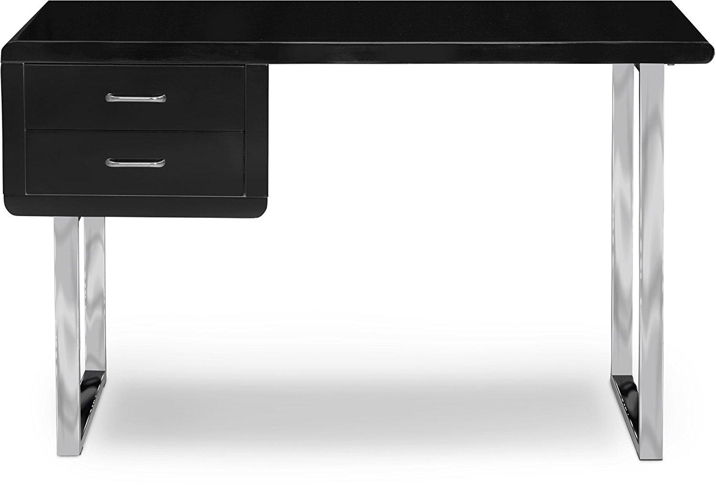 Centurion Supporta Harmonia Lucido Nero con Gamba cromata cassetti contemporanea Home Office di Lusso Computer Desk
