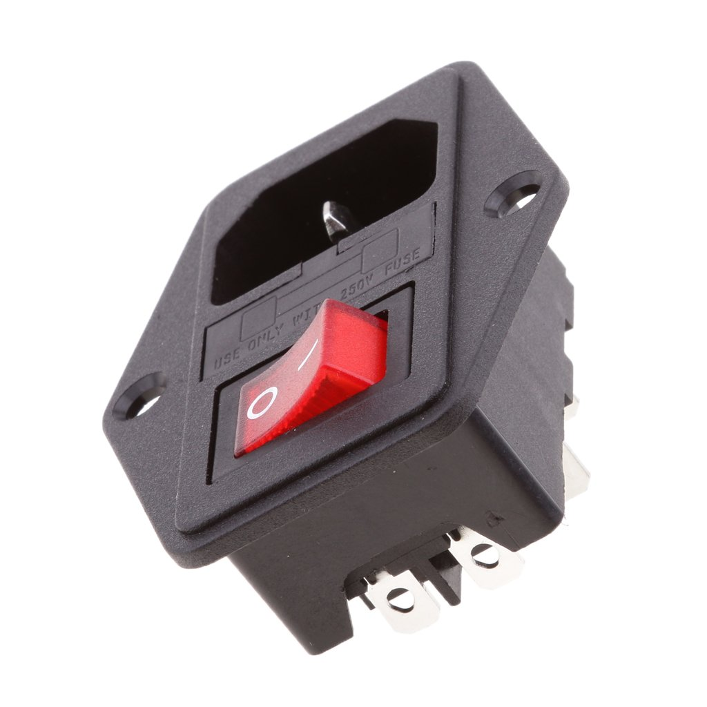 Jili Online New Red Light Rocker Switch Fused Fuse Inlet Amazoncom Module Plug Male Power Socket 10a 250v 3 Connector 120v Automotive