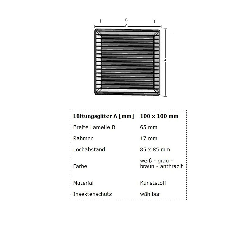 MKK L/üftungsgitter Abluftgitter Lamellengitter Insektenschutz Kunststoff eckig 100 x 100 mm braun Nein