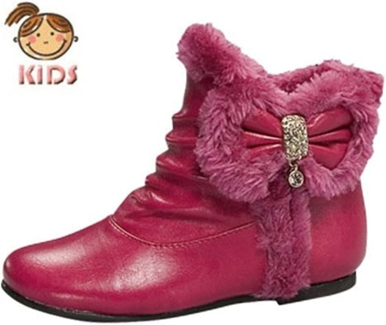 Tan or White Lucky Top Baby Ankle Bow Tie Faux Fur Lined Boots Post5f Fuchsia Red