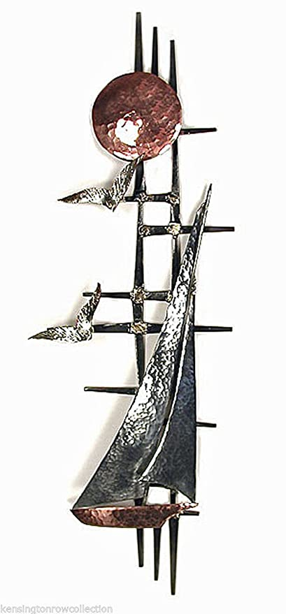 Amazon.com: WALL ART - SUNLIT SAILBOAT METAL WALL SCULPTURE ...
