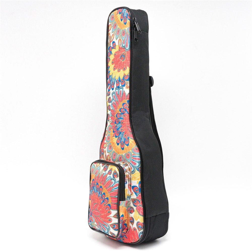 CLOUDMUSIC Hawaiian Ukulele Bag Ukulele Case With 3D Bag (Soprano, Orange Peacock Flower)