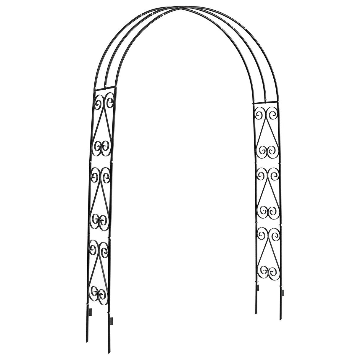 DOEWORKS Garden Arch, Garden Arbor for Various Climbing Plant, Outdoor Garden Lawn Backyard, 3' 11''Wide x 7' High, Black