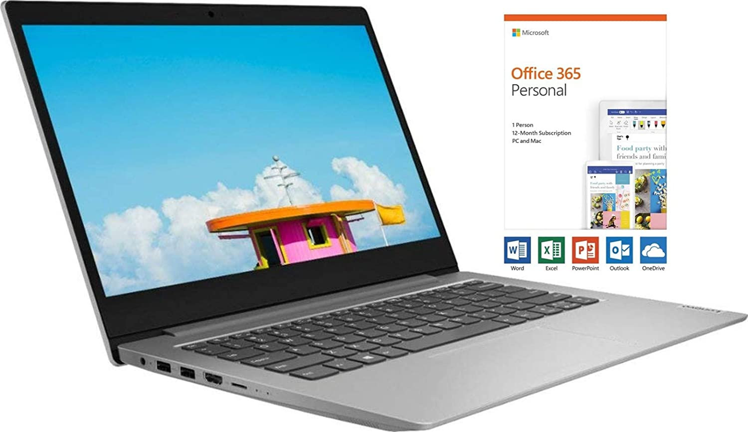 "Lenovo Ideapad 1 14"" HD Energy-efficient Widescreen LED Backlight Laptop, AMD A6-9220e Upto 2.4GHz, AMD Radeon R4, 4GB RAM, 64GB eMMC SSD, Bluetooth, HDMI, Windows 10, 1 Year Office 365 Personal"