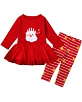 ETOSELL Little Girls Kids Holiday Red Cute Santa Claus Shirt+Stripe Pants Sets