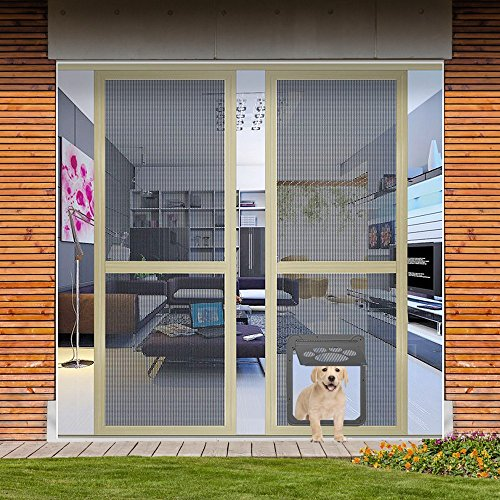 Dog Door Screen Door, NuoYo Pet Cat Door Automatic Lock Rotary Indoor  Safety Nets Gates