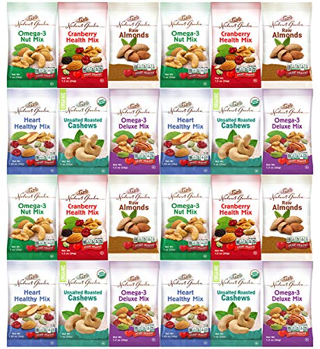 Healthy Premium Assorted Nuts and Fruits Snack Mix Sampler Variety Pack, Good for the Heart by Variety Fun (Care Package 24 Count) ()