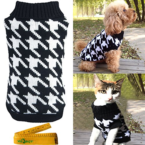 Pet Sweater Knitwear for Dogs & Cats Elegant Warm Knitted Turtleneck (Houndstooth Dog Bed)