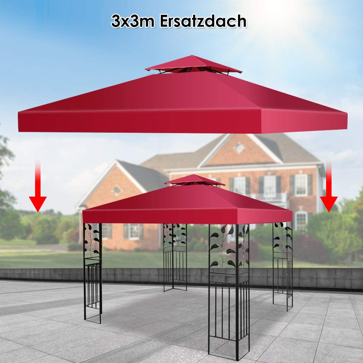costway pavillio techo techo de repuesto. Carpa lona techo Conducto de chimenea para cenador de 3 x 3 m, borgoña: Amazon.es: Jardín