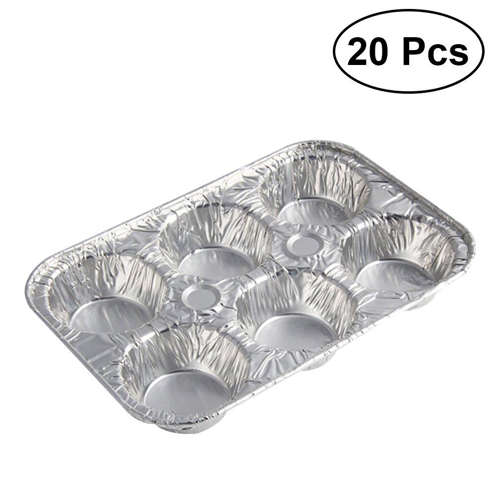 OUNONA 20pcs ondulazione antiaderente lega di alluminio uovo crostata muffa forma di fiore riutilizzabile cupcake e muffin teglia da forno tortine padelle