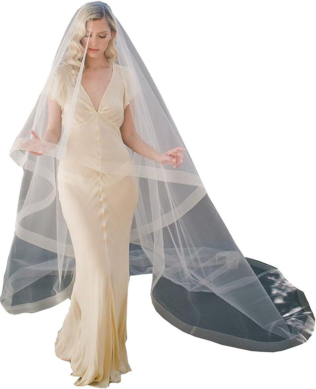 Fenghuavip Drop Wedding Veil Simple Tulle Blusher Veils Chapel Length with Ribbon Edge