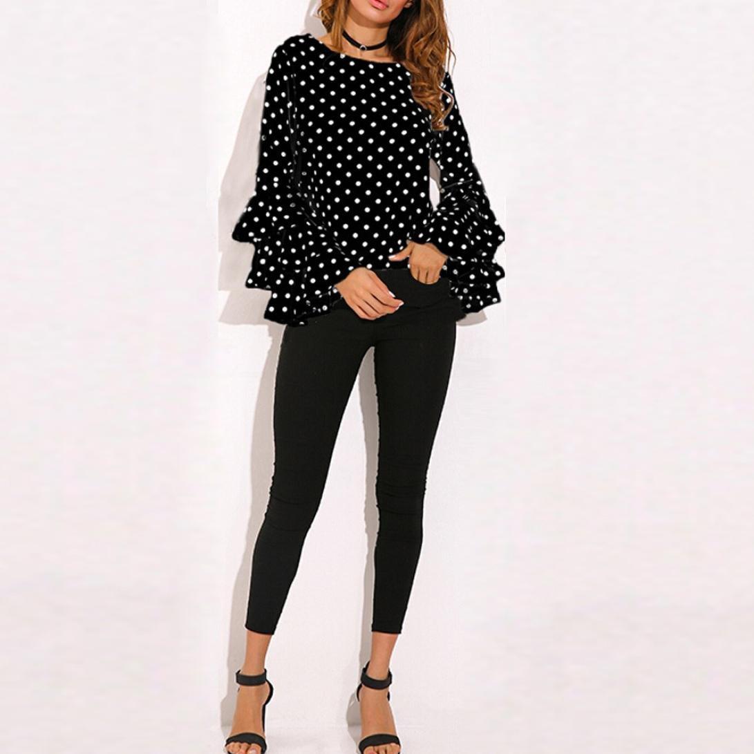 Camisa mujer ❤ Amlaiworld Mujer Manga de campana Suelto Polka Dot Camisetas Sudaderas Blusa Pullover casual Tops (Negro, L): Amazon.es: Hogar